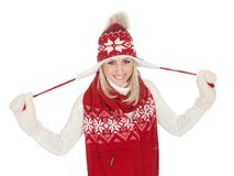 Beautiful woman in warm winter clothing Stock Photos