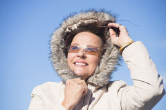 Beautiful Woman warm winter jacket Stock Images
