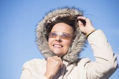 Beautiful Woman warm winter jacket Stock Images