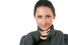 Beautiful woman in a warmth, woolen sweater Royalty Free Stock Photography