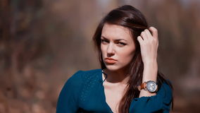 Beautiful woman with watch Royalty Free Stock Image
