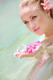 Beautiful woman in water Royalty Free Stock Photography