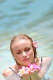 Beautiful woman in water Stock Photo