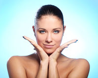 Beautiful woman with water drops on face Royalty Free Stock Photo