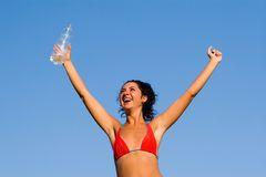 Beautiful woman with water on the hand Royalty Free Stock Images