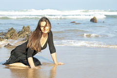Beautiful woman in the water from the ocean Royalty Free Stock Image
