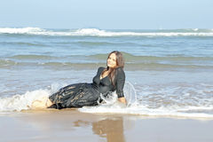 Beautiful woman in the water from the ocean Royalty Free Stock Images