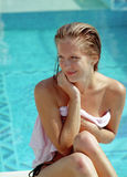 Beautiful woman before water pool Royalty Free Stock Photo