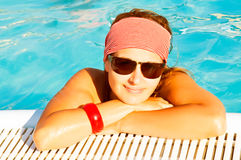 Beautiful woman in water. summer Stock Images