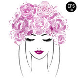 Beautiful Woman with watercolor flowers. Vector watercolor Peonies Royalty Free Stock Images