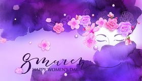 Beautiful woman. Watercolor violet background. Beautiful woman with flowers, cherry bloBeautiful woman with flowers, cherry blossom, roses. Watercolor pink Royalty Free Stock Photo