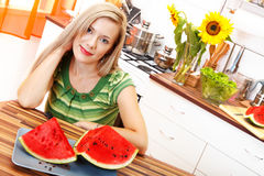 Beautiful woman with watermelon Royalty Free Stock Photo