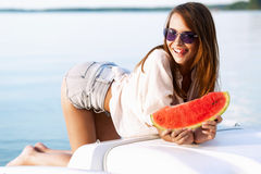 Beautiful woman with watermelon Royalty Free Stock Photos