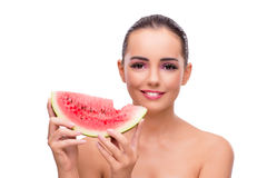 The beautiful woman with watermelon isolated on white Royalty Free Stock Images