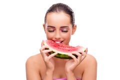 The beautiful woman with watermelon isolated on white Royalty Free Stock Photos
