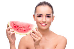 The beautiful woman with watermelon isolated on white Royalty Free Stock Photo