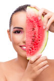 The beautiful woman with watermelon isolated on white Royalty Free Stock Photography