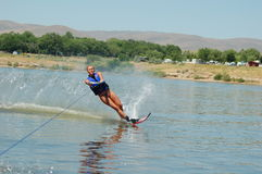 Beautiful woman waterskiing Royalty Free Stock Photos