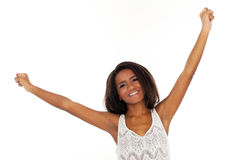 Beautiful woman waves her hands happily Stock Images