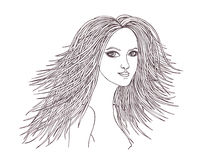 Beautiful woman with waving hair.Graphic style.Drawn black pen Royalty Free Stock Photos