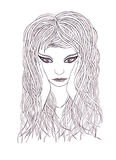 Beautiful woman with waving hair.Graphic style.Drawn black pen Royalty Free Stock Image
