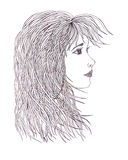 Beautiful woman with waving hair.Graphic style.Drawn black pen Stock Images