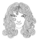 Beautiful woman with waving hair.Graphic style.Drawn black pen Royalty Free Stock Images