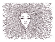 Beautiful woman with waving hair.Graphic style.Drawn black pen. Royalty Free Stock Photos