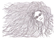 Beautiful woman with waving hair.Graphic style.Drawn black pen. Royalty Free Stock Photography