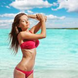 Beautiful Woman Wearing Bikini On Beach Stock Image