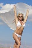 Beautiful Woman Wearing Bikini With White Materia royalty free stock photography