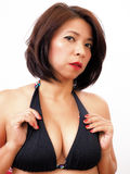 Beautiful woman wearing black bra Stock Images