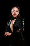 Beautiful woman wearing a black suit Royalty Free Stock Photography