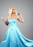 Beautiful woman wearing blue dress Royalty Free Stock Images