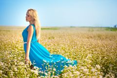 Beautiful woman wearing blue dress on a field Royalty Free Stock Images