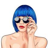 beautiful woman wearing blue wig and sunglasses Stock Photography