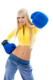 Beautiful woman wearing bowing gloves Stock Image