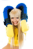 Beautiful woman wearing boxing gloves Stock Image