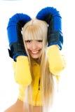 Beautiful woman wearing boxing gloves Stock Image