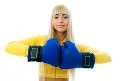 Beautiful woman wearing boxing gloves Royalty Free Stock Photos