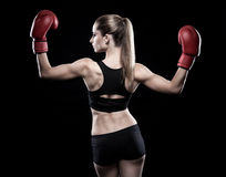 Beautiful woman wearing boxing gloves Stock Photos