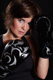 Beautiful woman wearing boxing gloves Royalty Free Stock Image