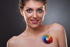 Beautiful woman wearing a brooch Stock Photo