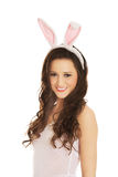 Beautiful woman wearing bunny ears Stock Images