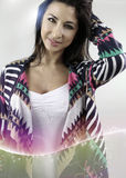 Beautiful woman wearing a cardigan Royalty Free Stock Photography