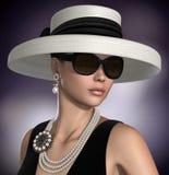 Beautiful Woman wearing Classic Glamour Fashion Jewelry. Amazing 3D render of a beautiful woman wearing a retro style classic glamour fashion outfit and jewelry stock illustration