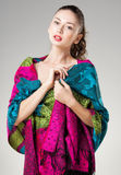 Beautiful woman wearing colorful kashmir scarf Stock Photography