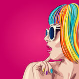 beautiful woman wearing colorful wig and white sunglasses Royalty Free Stock Images