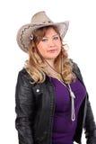 Beautiful Woman Wearing Cowboy Hat And Jacket Royalty Free Stock Image