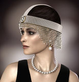 Beautiful Woman wearing Daisy Gatsby Jewelry. Amazing 3D render of a beautiful woman wearing  pearl and diamond Great Gatsby Daisy jewelry Royalty Free Stock Photos